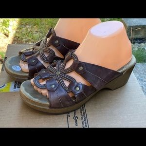Dansko Brown Leather Wedge Sandals Size 39/9US